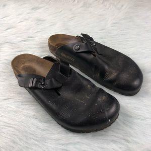 Birkenstock Boston Black Leather Sandals Slides 45